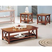 3pcs Cross Design Brown Finish Coffee & End Table Set