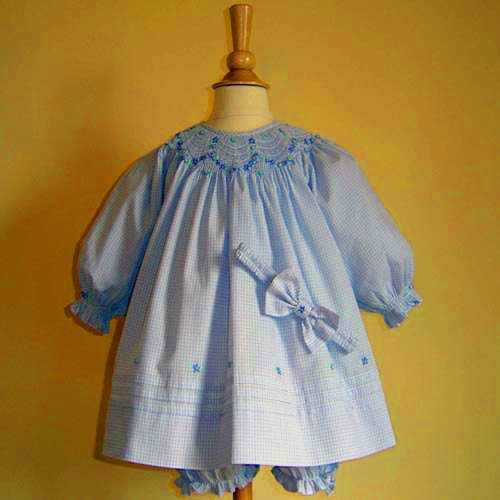 Pretty in Pink Hand Smocked Bishop Style Gingham Dress Set (9 month, blue gingham)