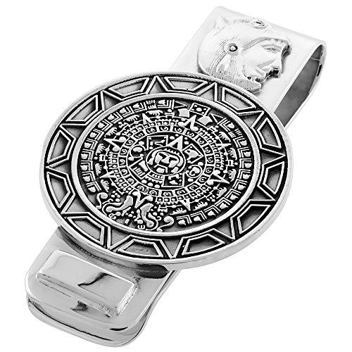 - Sterling Silver Aztec Calendar Money Clip 2 1/4 inch