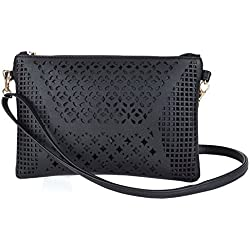 Jiaruo Vintage Girls Hollow Out Sling Leather Crossbody Bag Handbag Purse (black)