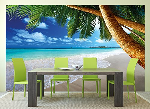 Great Art Wall Mural Palm Trees Beach Mural Decoration Caribbean Beach Bay Paradise Nature Island Palms Tropical paperhanging Wallpaper poster wall decor by (132.3 Inch x 93.7 Inch/336 x 238cm)
