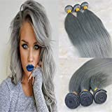 "HairDancing Brazilian Ombre Hair 3 Bundles 300g Silver Grey Color Human Hair Extensions Grey Color Virgin Remy Hair Weave(24""24""24"")"