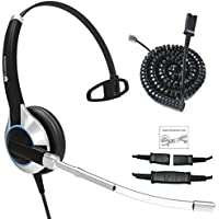 TruVoice HD-300 Deluxe Single Ear Headset With Noise Reduction Voice Tube and Bottom Cable to work with Mitel, Nortel, Avaya Digital, Polycom VVX, Shoretel, Aastra, Many More