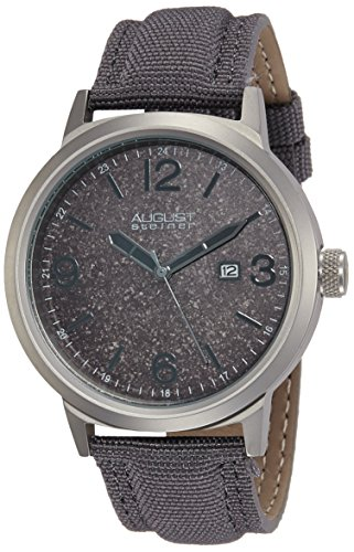 - August Steiner Men's AS8088GY Stainless Steel Watch with Grey Canvas Strap