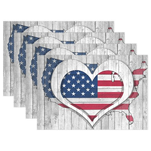 Naanle American Flag USA Map Heart Love Placemats Set of 4 Washable Table Mat for Kitchen Dining Table Inches Place Mats
