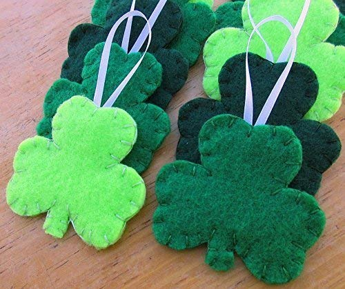 10 shamrock decorations, St Patrick's Day clover ornaments, lucky trefoil decor ()