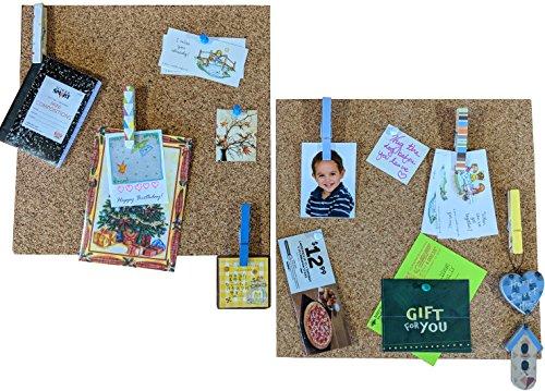 HL Enterprise Cork Tiles 12x12: Cork Board Bulletin Board Self Adhesive Backing 2 Pack w/ 6 Clothespins Pushpins by HL Enterprise