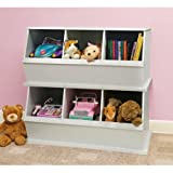 Stackable Three-Bin Storage Cubby, White, Great for Kids when Learning to Sort, Organize, and Clean-up, Made with a Non-toxic Finish, Solid Panel Construction, Bundle with Expert Guide for Better Life