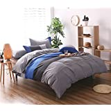 Moreover 3-Pieces Blue and Grey Stripes Duvet Cover Set 100% Polyester Solid Color Bedding (Queen, Stripes Blue)