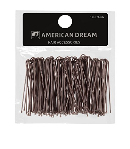 AMERICAN DREAM Pack of 100 x Haarklammern - braun - glatt - 2 inch / 5 cm Länge, 1er Pack (1 x 60 g)