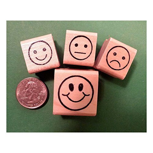Teachers Rubber Stamp Set , 4 Smiley-Face Stamps created by educators by Unknown (Image #1)