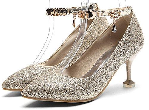 Idifu Womens Sweet Cinturino Alla Caviglia Scarpe A Punta Basse In Glitter Con Tacco A Spillo In Oro
