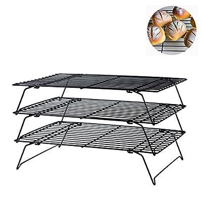 DailyShe Stackable 3-Tier Cross Grid Cooling Rack Set Baking Kitchen Tool