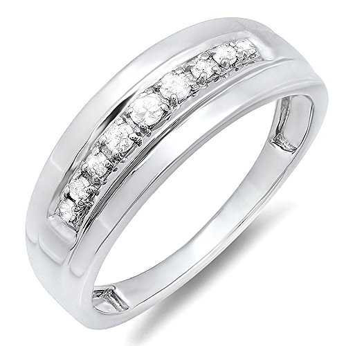 Dazzlingrock Collection 0.23 Carat (ctw) Sterling Silver Round Real Diamond Men's Wedding Anniversary Band Ring 1/4 CT, Size 10 (Wedding Bands For Men Diamond)