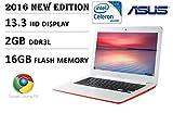 2016 Newest Model Asus 13.3 inch HD Premium Built Chromebook, Intel Dual-Core Processor 2.16GHz, 2GB DDR3, 16GB EMMC flash memory, 802.11 AC, Webcam, HDMI, USB 3.0, SD Card Reader, Chrome OS, Red