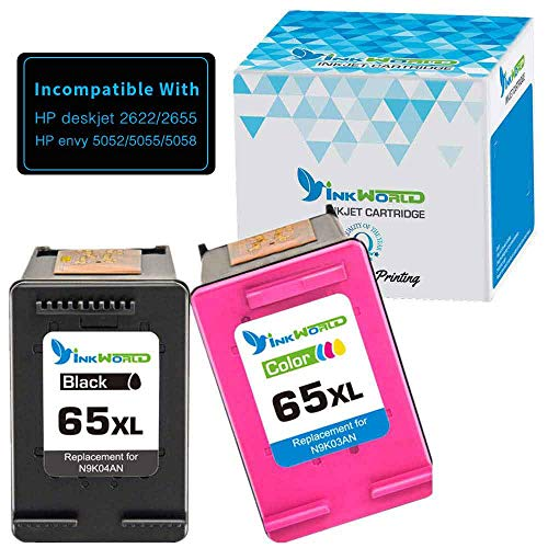 Inkworld Remanufactured Ink Cartridge Replacement for HP 65XL ( Black,Cyan,Magenta,Yellow , 2-Pack )