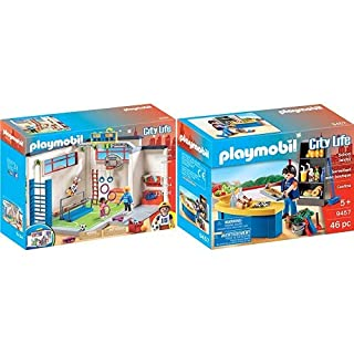 PLAYMOBIL 9454 Spielzeug-Turnhalle &  9457 Spielzeug-Hausmeister mit Kiosk