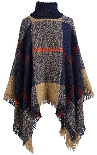 QZUnique Women Poncho Sweater Knit Turtleneck Cape Pullover Shawl Tassels Plaid Navy Blue (Turtleneck Poncho)