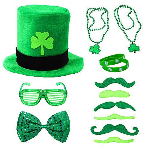 FunsLane 13 Pcs St. Patrick's Day Party Favor Set, Dressing up Accessories with Shamrock Green Velvet Top Hat, Necklaces, Mustaches and Other Accessories for Irish Day Saint Paddy's Day -