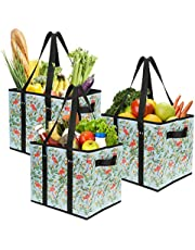 Foraineam 3-Pack Extra Large Reusable Grocery Bags TropicalFlamingo Pattern Durable Heavy Duty Grocery Totes Bag Storage Box Bins Collapsible Grocery Shopping Box Bags with Reinforced Bottom
