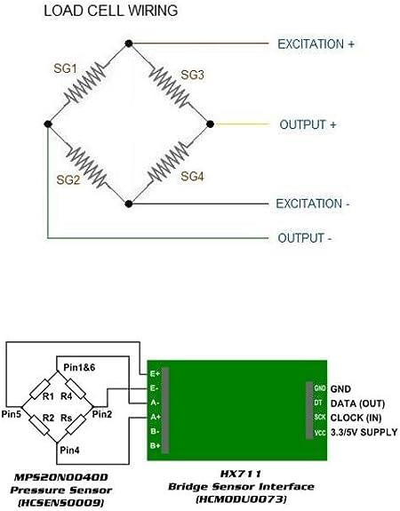 4 individuales 50Kg Kit de celda de carga Half-Bridge Strain Gauge M/ódulo HX711