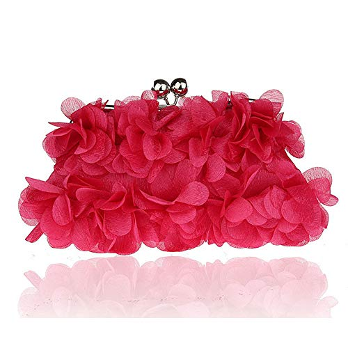Mujeres Evening Tarde Lady Red Cosmticos de Silk Handbags Flower rabbit Rose Bolsa Lovely Embragues Banquete w1qUBB