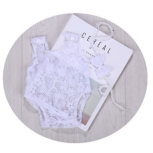Newborn Infant Baby Photography Props Girls Lace Bow Vest Bodysuits Romper Photo Shoot Princess Clothes (White) by Vemonllas (Image #2)