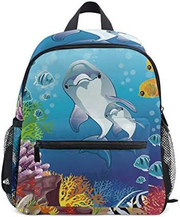 漫画サメの魚 幼児就学前のバックパック本袋ミニショルダーバッグリュックサック通学用1-6年旅行男の子女の子