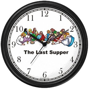 The Last Supper Christian Theme Wall Clock by WatchBuddy Timepieces (Black Frame) by WatchBuddy