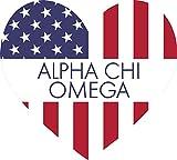 Alpha Chi Omega American Flag Greek Heart Shaped Decal