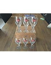 Set med 6 Stella Artois ölglas, 25 cl, guldkant