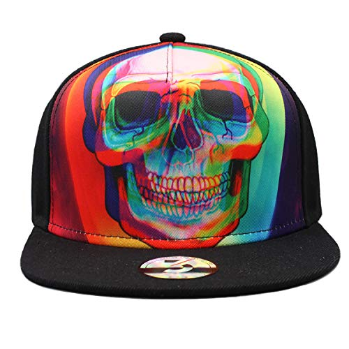 Fitted Flat Brim Cap - TT smemes Black Rainbow Skull Fitted Flat Brim Baseball Cap Snapback Men Women Trucker Hat