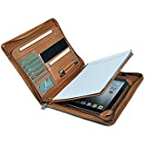 XIAOZHI Leather Portfolio with Notepad Space for iPad 10.2 inch/ 10.5 inch/ 11 inch,Brown