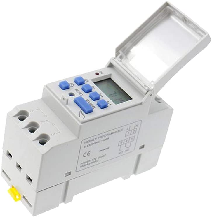 Blanc 24 v MagiDeal Programmateur Interrupteur Relais Din Rail Minuteurs Num/érique LCD Hebdomadaire