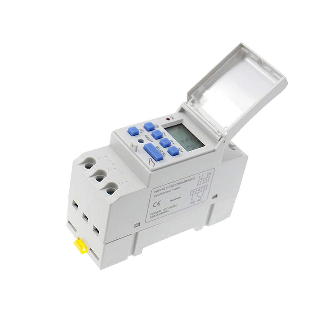 Fityle AHC15A DIN Rail Mounting Digital Programmable Timer Switch 110V AC 168hours