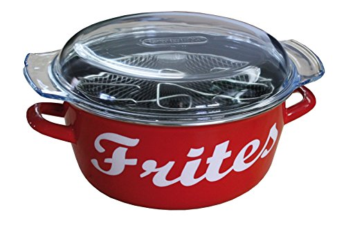 Baumalu 311138 Deep Fryer, Enamel with The Word Frites (in French) on it, Red ()