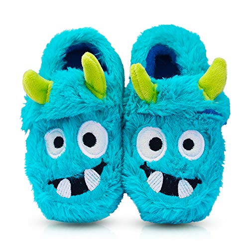 Boy's Comfort Fluffy Scary Monster Indoor House Cartoon Slippers with Hard Solesize Little Kid 12 US Blue]()