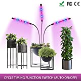 Mixspace Three Head Grow Light Auto-Control ON/Off, 36W Power Led Light, 4/8/12h Timing Modes Grow Lamp for Indoor Plants, Hydroponics, Greenhouse, Gardening, Office