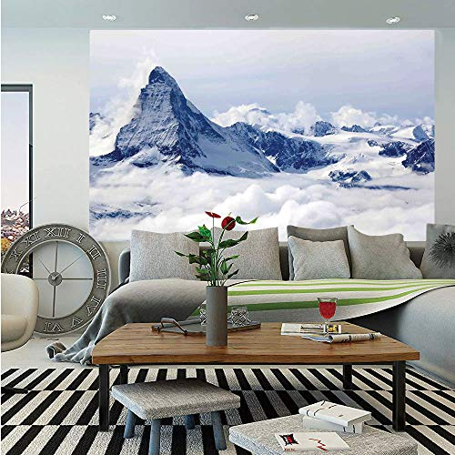 - Lake House Decor Huge Photo Wall Mural,Scenery of Mountain Summit Magical Scenery Natural Paradise Pattern,Self-Adhesive Large Wallpaper for Home Decor 108x152 inches,Black White