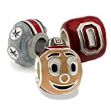 Ohio State Charms | Ohio State Brutus Buckeye with Red Block O and Buckeye Leaf Charm | Officially Licensed Ohio State Jewelry | OSU Charms | Ohio State Gifts | Stainless Steel