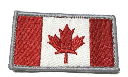 Canada Canadian Maple Leaf Flag Tactical Embroidered Patch Hook and Loop Fastener Backing America Military US World State National Flag Series Uniform Emblem Badge DIY Appliques Application Patches