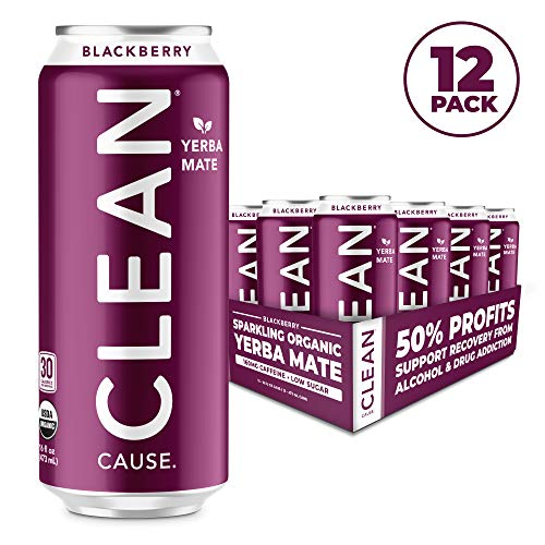 Blackberry Sparkling Yerba Mate Tea Energy Drink - Organic, Low Calorie & Low Sugar (160mg Caffeine), 16oz cans, 12-pack - CLEAN Cause - 50% Profits Support Alcohol & Drug Addiction Recovery