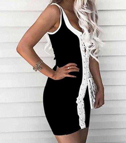 Profond Confortables Survêtement Veste Mince Mode Sexy Forme V-cou Courte Robe Noire