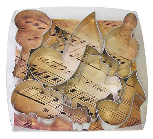 R&M International 1876 Musical Cookie Cutters, Piano, 3 Music Notes, G Clef, Guitar, Violin, 6-Piece Set
