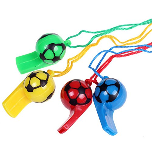 Hosfairy 20Pcs Color Plastic Football Whistle | Children's Referee Whistle Toys | Party Accessory(Random -