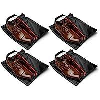 Tuff Guy Travel Shoe Bags with Drawstring (Black) -Set of 4 Soft Nylon Shoe Tote BagsTravel Shoe
