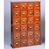Leslie Dame CD-456W Solid Oak Library Card File Media Cabinet, 24 Drawers, Walnut