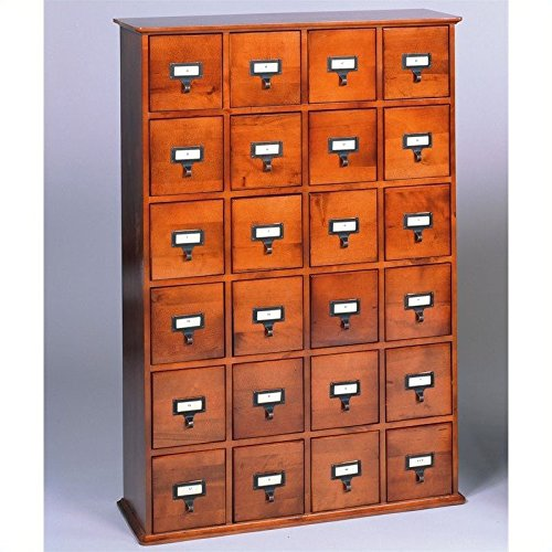 Leslie Dame CD-456W Solid Oak Library Card File Media Cabinet, 24 Drawers, Walnut - Style Cd File