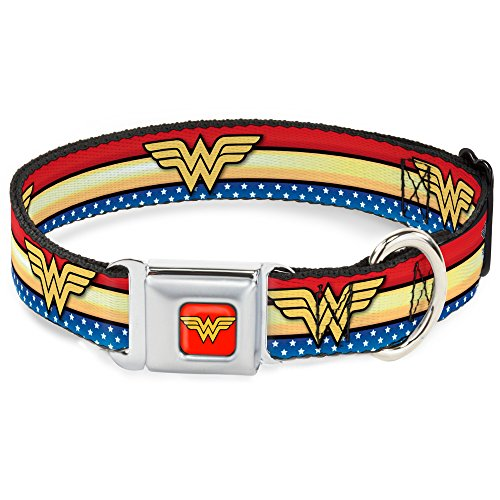 Repeat Stripe - Buckle Down DC-WWW040-S Seatbelt Dog Collar, Small, Wonder Woman Logo Stripe/Stars Red/Gold/Blue/White (Repeat WW Logo)