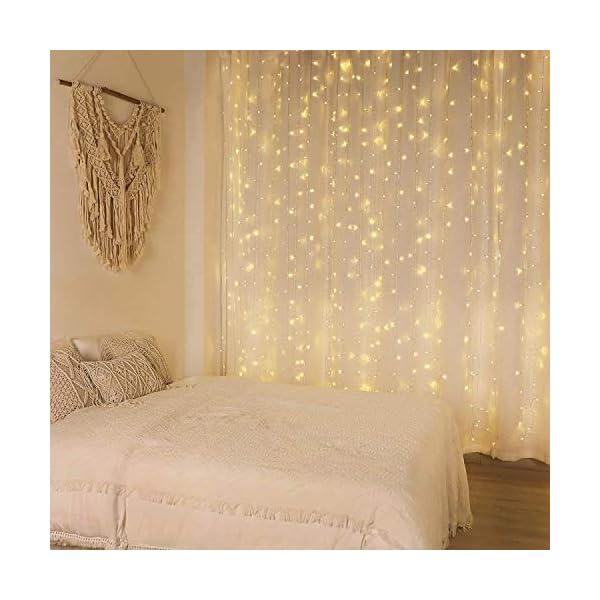 CREASHINE Tenda Luci LED 3 x 3 m, Tenda Luminosa Natale Esterno/Interno, Luci di Natale da Esterno con 8 Modalità di Illuminazione Natale Decorazioni Casa,Camera da Letto,Giardino 4 spesavip